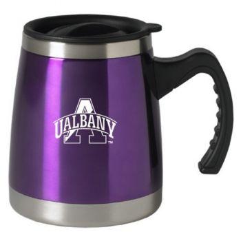 University at Albany, SUNY - 16-ounce Squat Travel Mug Tumbler - Purple
