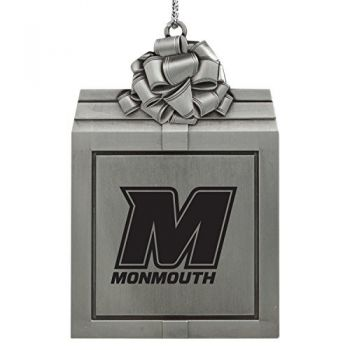 Monmouth University -Pewter Christmas Holiday Present Ornament-Silver