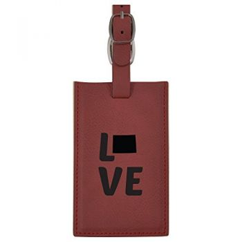 Wyoming-State Outline-Love-Leatherette Luggage Tag -Burgundy