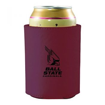 Ball State University -Leatherette Beverage Can Cooler-Burgundy