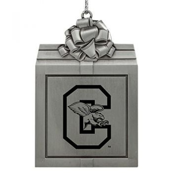 Canisus College -Pewter Christmas Holiday Present Ornament-Silver