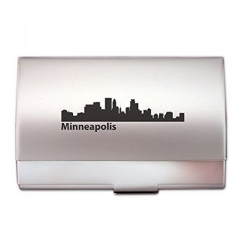 Minneapolis, Minnesota-Two-Tone Business Card Holder-Silver