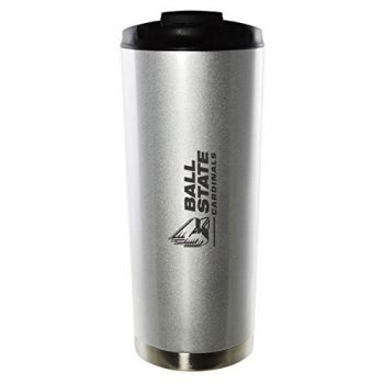 Ball State University-16oz. Stainless Steel Vacuum Insulated Travel Mug Tumbler-Silver