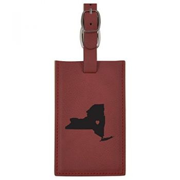 New York-State Outline-Heart-Leatherette Luggage Tag -Burgundy