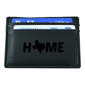 Texas-State Outline-Home-European Money Clip Wallet-Black