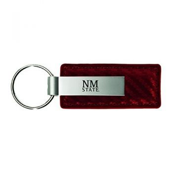 New Mexico State-Carbon Fiber Leather and Metal Key Tag-Burgundy