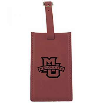 Marquette University-Leatherette Luggage Tag-Burgundy
