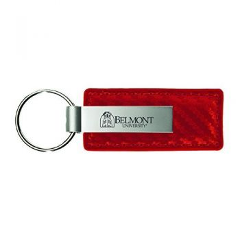 Belmont University-Carbon Fiber Leather and Metal Key Tag-Red