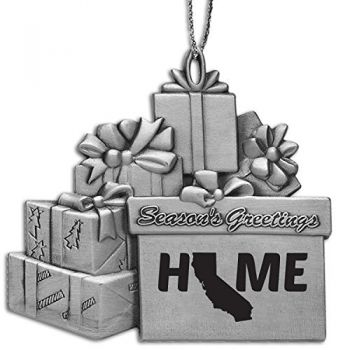 California-State Outline-Home-Pewter Gift Package Ornament-Silver