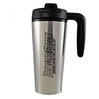 Bowling Green State University -16 oz. Travel Mug Tumbler with Handle-Silver