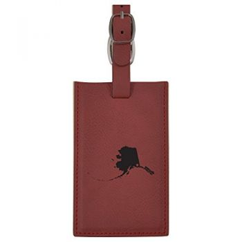 Alaska-State Outline-Heart-Leatherette Luggage Tag -Burgundy
