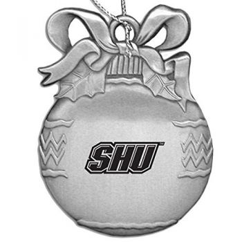 Sacred Heart University - Pewter Christmas Tree Ornament - Silver