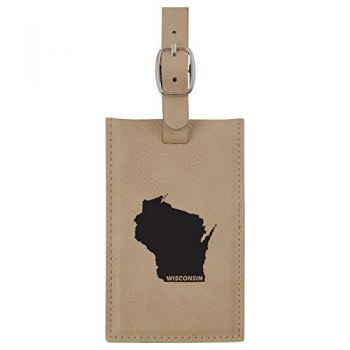 Wisconsin-State Outline-Leatherette Luggage Tag -Tan