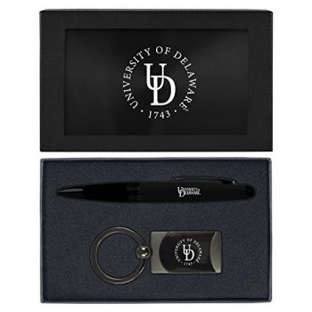 University of Delaware -Executive Twist Action Ballpoint Pen Stylus and Gunmetal Key Tag Gift Set-Black
