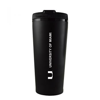 University of Miami -16 oz. Travel Mug Tumbler-Black