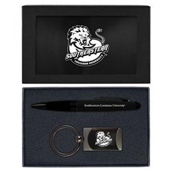 Southeastern Louisiana University -Executive Twist Action Ballpoint Pen Stylus and Gunmetal Key Tag Gift Set-Black