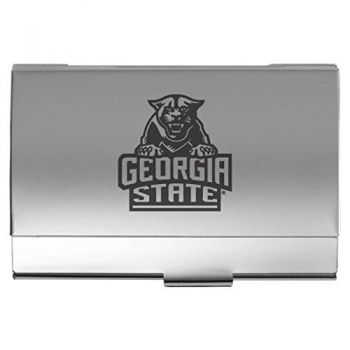 Georgia State University - Two-Tone Business Card Holder - Silver