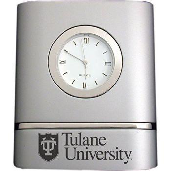 Tulane University- Two-Toned Desk Clock -Silver