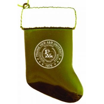 Prairie View A&M University - Christmas Holiday Stocking Ornament - Gold