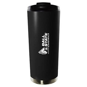 Ball State University-16oz. Stainless Steel Vacuum Insulated Travel Mug Tumbler-Black