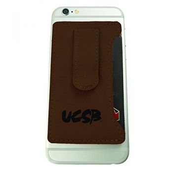 University of California, Santa Barbara-Leatherette Cell Phone Card Holder-Brown