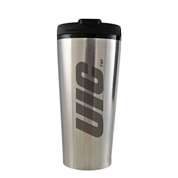 University of Illinois at Chicago-16 oz. Travel Mug Tumbler-Silver