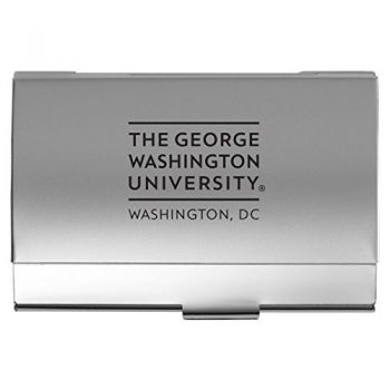 The George Washington University - Two-Tone Business Card Holder - Silver