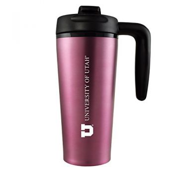 University of Utah-16 oz. Travel Mug Tumbler with Handle-Pink