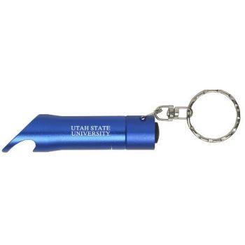 Utah State University - LED Flashlight Bottle Opener Keychain - Blue