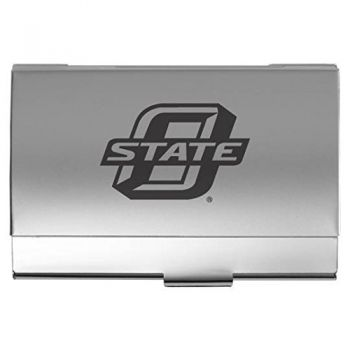 Oklahoma State University??Stillwater - Two-Tone Business Card Holder - Silver