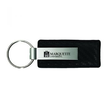 Marquette University-Carbon Fiber Leather and Metal Key Tag-Black
