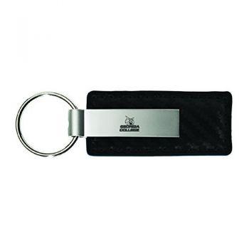 Georgia College-Carbon Fiber Leather and Metal Key Tag-Black