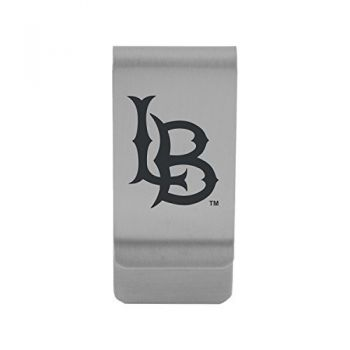 Long Beach State University|Money Clip with Contemporary Metals Finish|Solid Brass|High Tension Clip to Securely Hold Cash, Cards and ID's|Gold