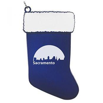 Pewter Stocking Christmas Ornament - Sacramento City Skyline