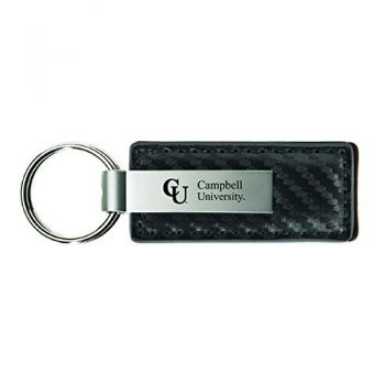 Campbell University-Carbon Fiber Leather and Metal Key Tag-Grey