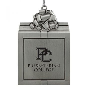 Presbyterian College -Pewter Christmas Holiday Present Ornament-Silver