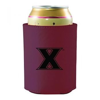 Xavier University-Leatherette Beverage Can Cooler-Burgundy