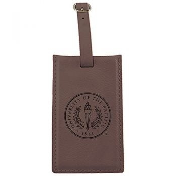 University of The Pacific -Leatherette Luggage Tag-Brown