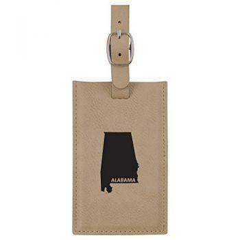 Alabama-State Outline-Leatherette Luggage Tag -Tan
