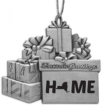 New York-State Outline-Home-Pewter Gift Package Ornament-Silver
