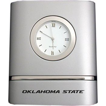 Oklahoma State University??Stillwater- Two-Toned Desk Clock -Silver