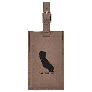 California-State Outline-Leatherette Luggage Tag -Brown