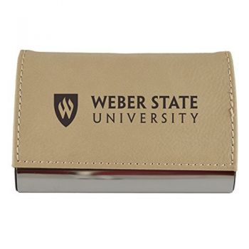 Velour Business Cardholder-Weber State University-Tan