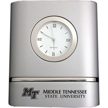 Middle Tennessee State University- Two-Toned Desk Clock -Silver