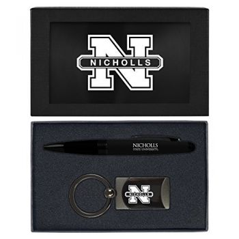 Nicholls State University -Executive Twist Action Ballpoint Pen Stylus and Gunmetal Key Tag Gift Set-Black