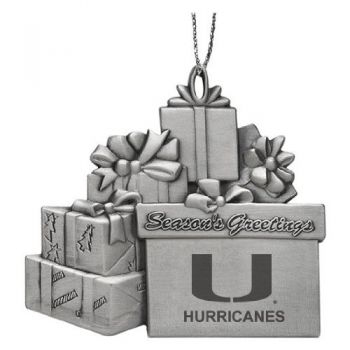 University of Miami - Pewter Gift Package Ornament