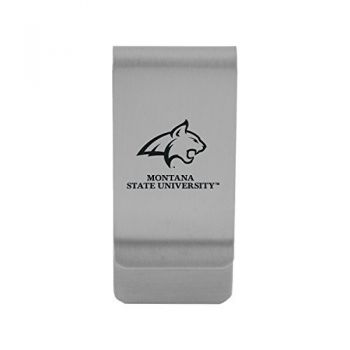 Montana State University|Money Clip with Contemporary Metals Finish|Solid Brass|High Tension Clip to Securely Hold Cash, Cards and ID's|Gold
