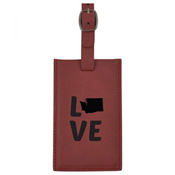 Washington-State Outline-Love-Leatherette Luggage Tag -Burgundy
