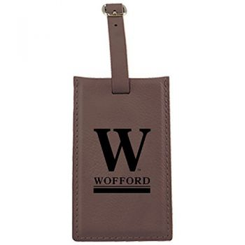 Wofford College-Leatherette Luggage Tag-Brown