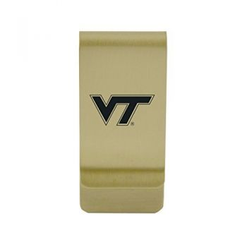Valparaiso University|Money Clip with Contemporary Metals Finish|Solid Brass|High Tension Clip to Securely Hold Cash, Cards and ID's|Silver